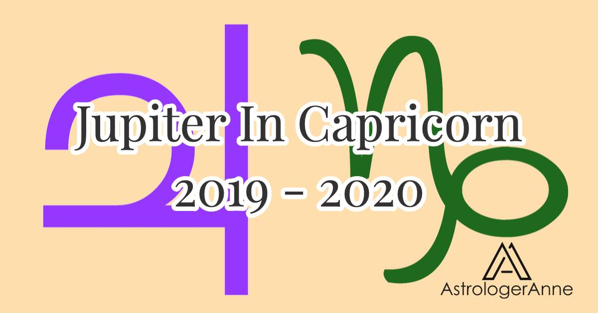 Jupiter in Capricorn graphic for 2019-2020 with planet and sign symbols