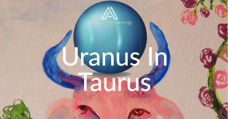 Watercolor of Taurus Bull by Astrologer Anne Nordhaus-Bike with blue image of planet Uranus between the Bull's blue horns