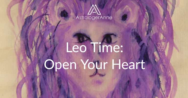Leo the Lion purple watercolor painting with Leo Time: Open Your Heart text