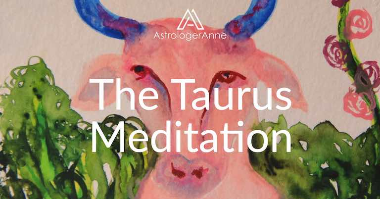 Taurus meditation - Taurus watercolor painting by Anne Nordhaus-Bike-all-rights-reserved