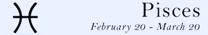 Pisces zodiac sign symbol and dates