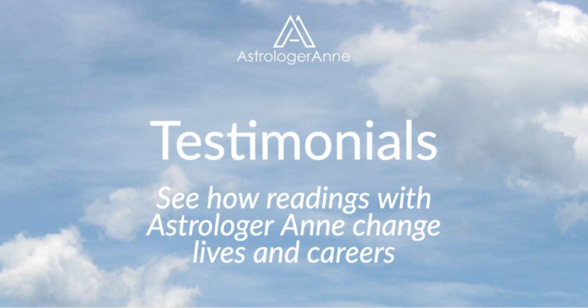 Testimonials for readings with Astrologer Anne - blue sky image with white clouds