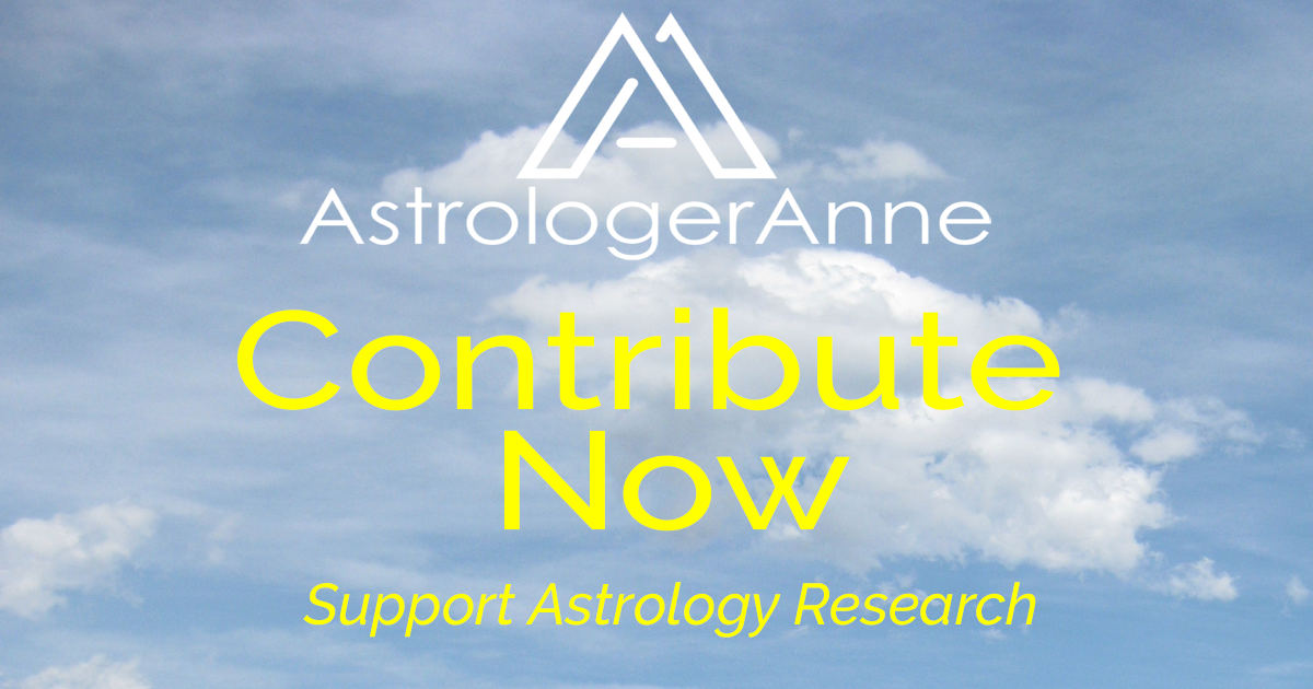 Blue sky images with puffy white clouds, Astrologer Anne logo - contribute to support astrology research