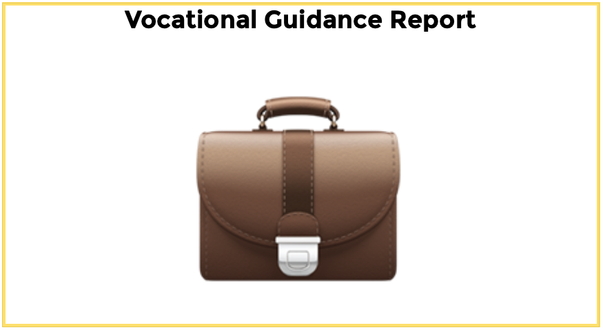 Brown classic briefcase with text: Vocational Guidance Report