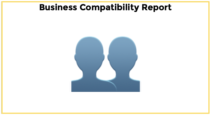 Blue graphic of two people's heads for Business Compatibility Report