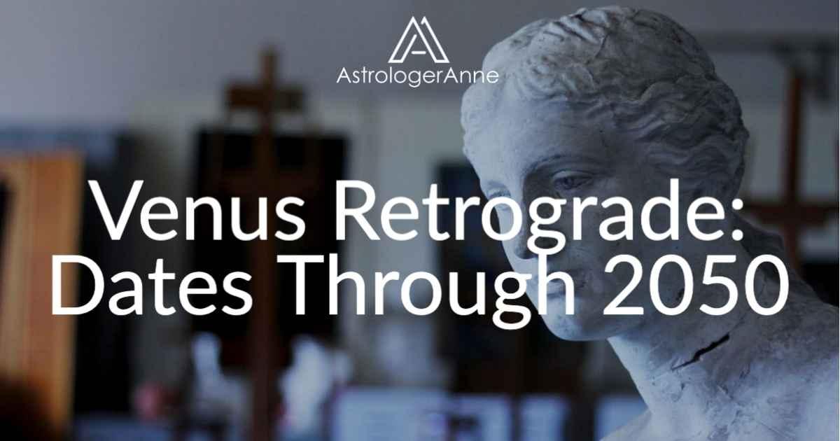 Venus statue with text - Venus retrograde dates through 2050
