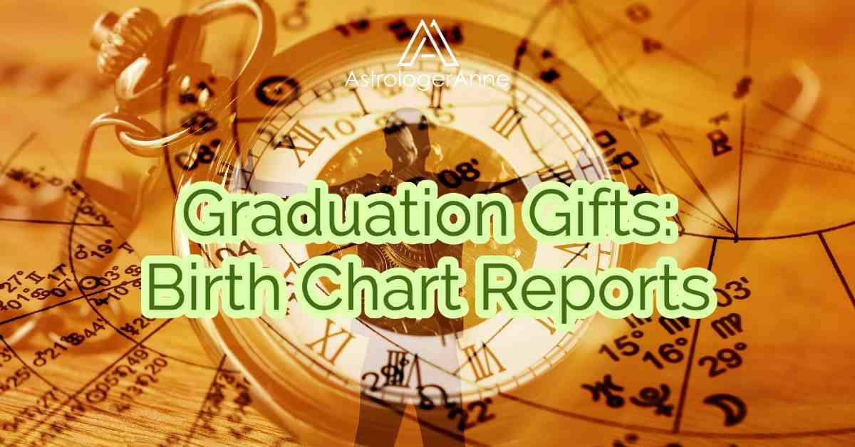 Orange and white graphic with astrology birth chart, pocket watch, and new graduate with arms outstretched - text: Graduation Gifts, Birth Chart Reports