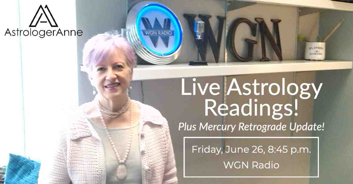 Anne Nordhaus-Bike - Astrologer Anne - at WGN Radio in Chicago