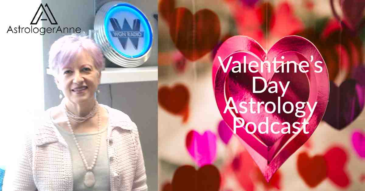 Valentine's Day hearts image and photos of astrologer Anne Nordhaus-Bike for astrology podcast