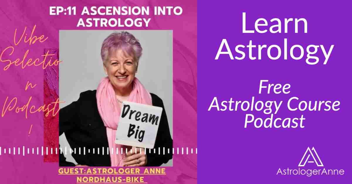Red and purple photo with Astrology Anne - free astrology course: learn astrology  basics in just one hour.