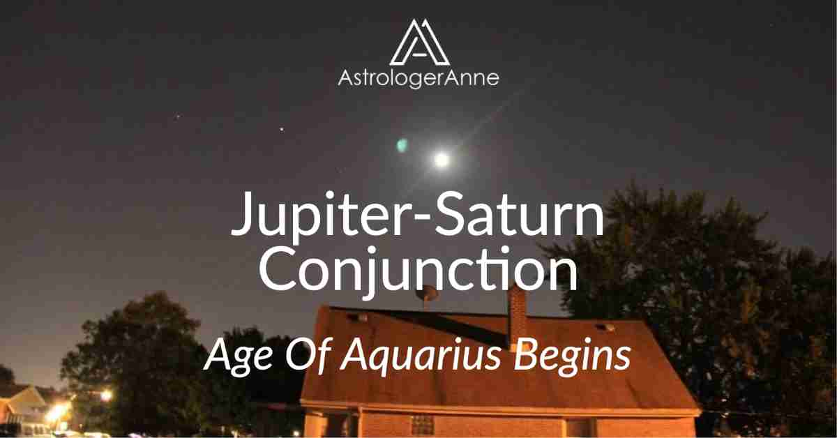 Night sky above house with full Moon plus Jupiter and Saturn in Capricorn - before their historic shift into Aquarius.