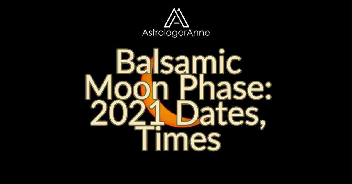 Super dark night sky with slim sliver of balsamic Moon and text: Balsamic Moon Phase: 2021 Dates, Times