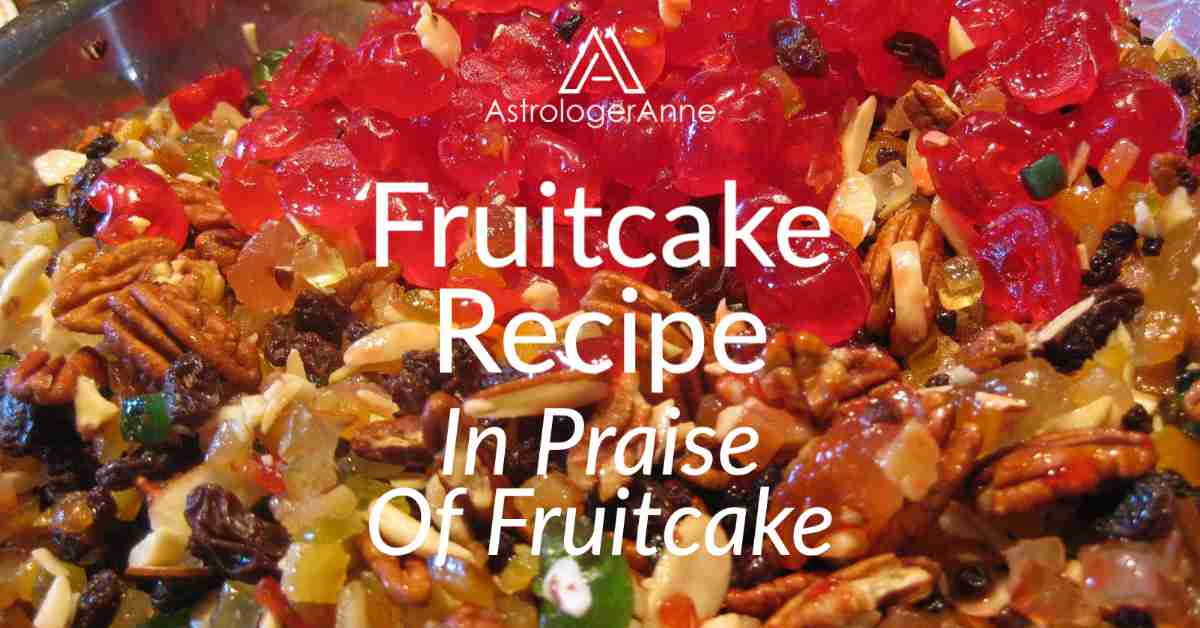 Colorful image of red candied cherries, nuts, raisins, and candied fruit in large mixing bowl for making fruitcake - text: Fruitcake Recipe, In Praise Of Fruitcake