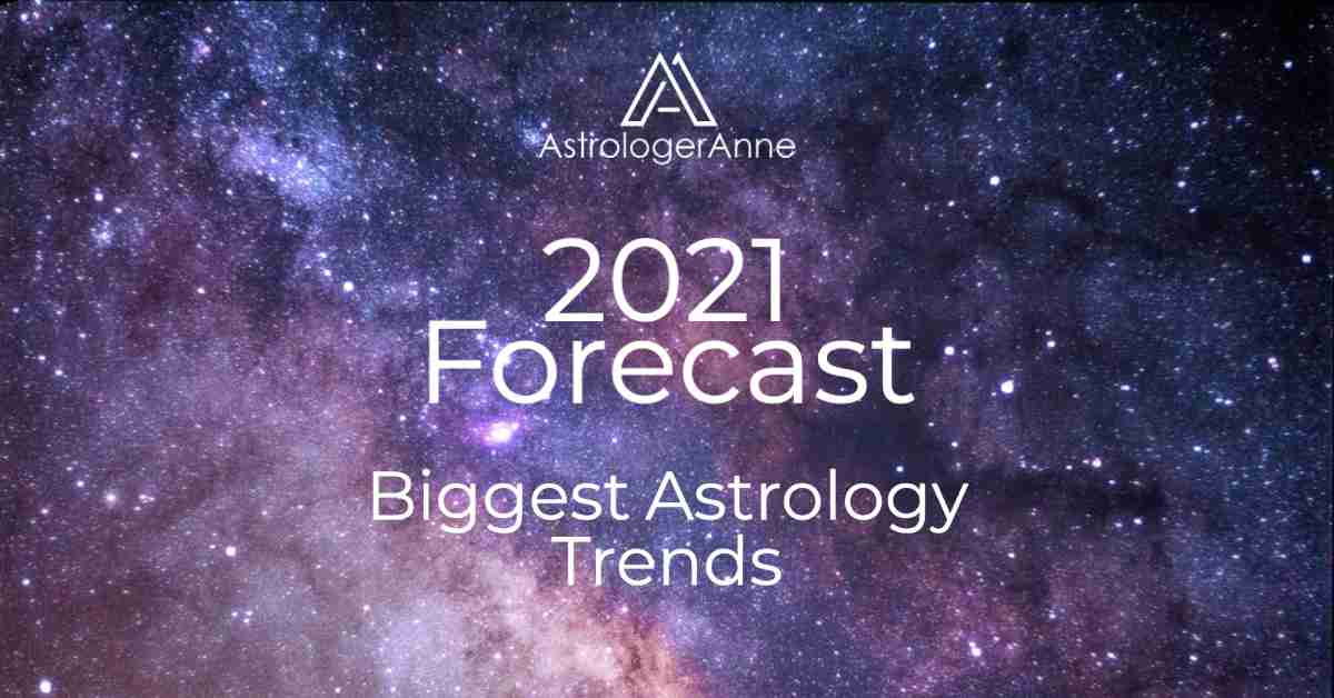 Super starry dark sky, blue and purple - 2021 forecast with biggest astrology trends from Astrologer Anne