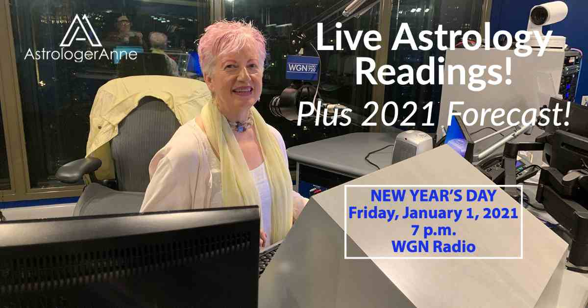 Astrologer Anne - Anne Nordhaus-Bike - at WGN Radio in Chicago, appearing live New Year's Day 2021.
