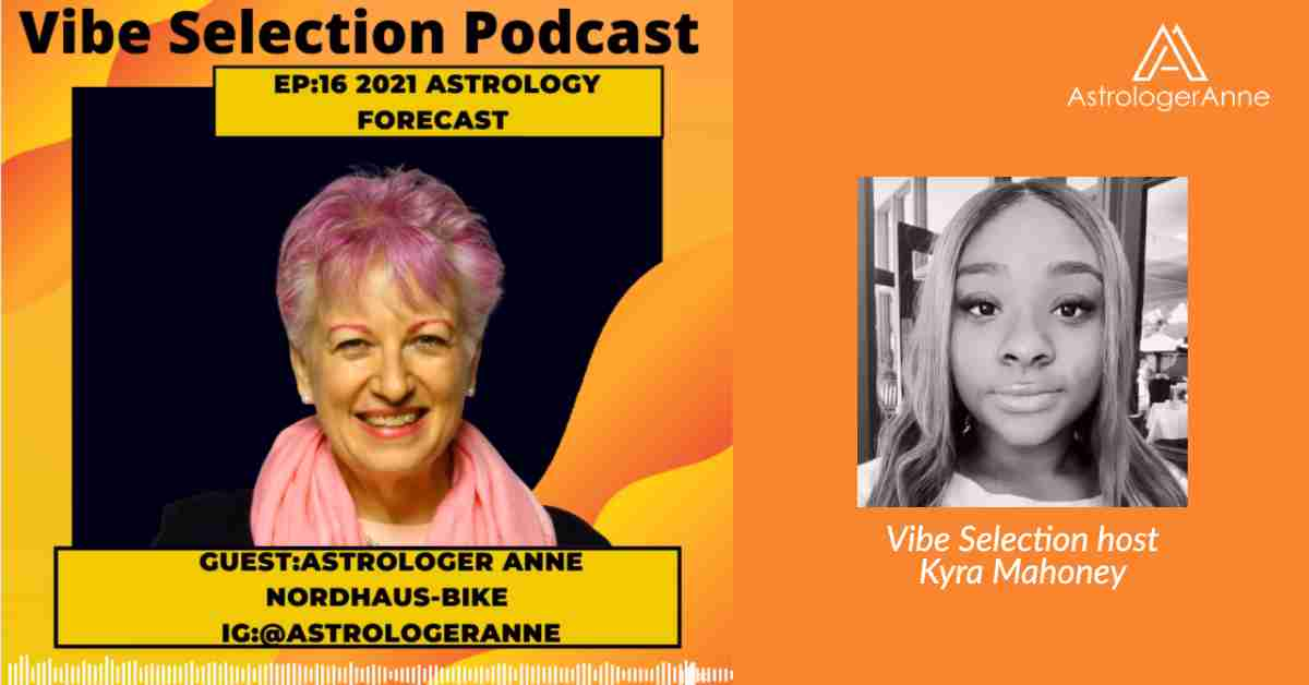 Astrologer Anne Nordhaus-Bike with Vibe Selection Podcast host Kyra Mahoney - photos on orange background