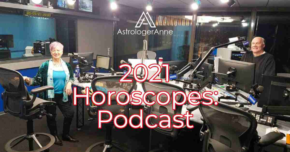 Astrologer Anne Nordhaus-Bike at WGN Radio studio in Chicago with host Phil Manicki