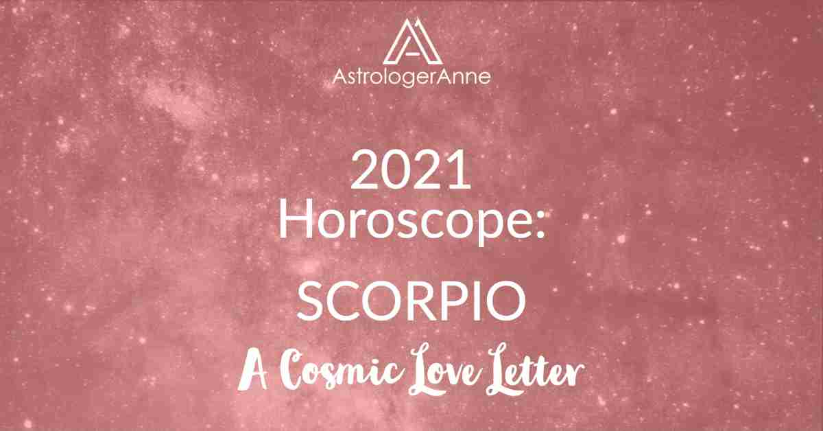 Scorpio Horoscope 2021 - red starry sky for Scorpio and A Cosmic Love Letter